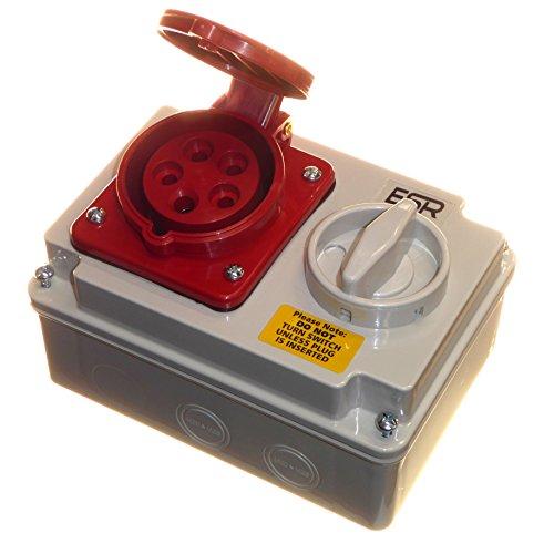 Verriegelte Kraftstrom-Steckdose, 5-polig, 16 A, 415 V, 3 Phasen + neutral + Erde, Rot