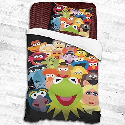 2-Piece K-Ermit The Frog Zipper Closure Bed Sheet Super Soft Bedding Set Set (1 Quilt Set,1pillow Shams) 53'X79'