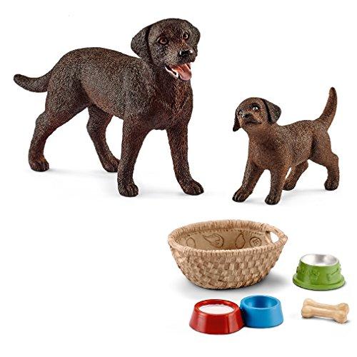 Farm World Schleich - Labrador Retriever Familie (13834 + 13835) + 42293 Futter für Hunde & Katzen