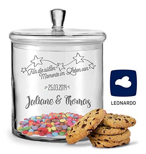 GRAVURZEILE Leonardo Keksglas mit Gravur - Keksdose Bonbonglas mit Deckel - Vorratsdose personalisiert mit Namen & Datum - Geschenk für Paare, zur Hochzeit als Geldgeschenk Farbe Süßigkeiten