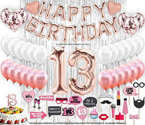 13th Birthday Decorations With Photo Props 13 Birthday Party Supplies |13 Cake Topper Rose Gold Happy Birthday Banner | Confetti Balloons Silver Curtain Backdrop Photo Props For Thirteen Teenager Bday