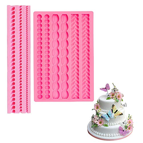 2 Pieces Rope Mold Pearl Fondant Mold Bubble Mold Fondant Silicone Molds Round Pearls Bubbles Moulds Cake Decoration Molds for Kitchen DIY Baking Tools