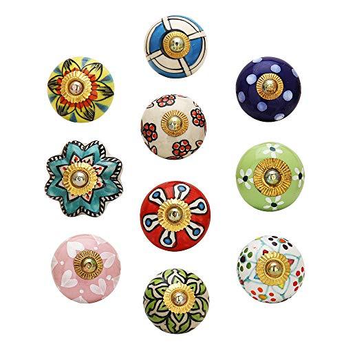 Türgriffe - Keramikknöpfe Set mit 10 mehrfarbigen Schrank- und Innenausstattungsausstattungen Handgearbeitete Schubladengriffe Küchentür Garderobenbeschläge Kommode Blaue Keramik-Blumenschubladen