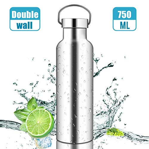 Trinkflasche Edelstahl, 750 ml Doppelwandige Thermo Isolierflasche, Wiederverwendbare öko Wasserflasche Auslaufsicher Sportflasche, Langlebige Wasserflasche für Sport, Camping, Ausflug, Fahrradfahren