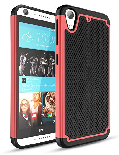HTC Desire 626 Case,Desire 626S Case,TILl(TM) [Shockproof] Hybrid Dual Layer Rubber Plastic Impact Armor Defender Hard Protective Case Cover for HTC Desire 626 / 626s All Carrier - Red/Black