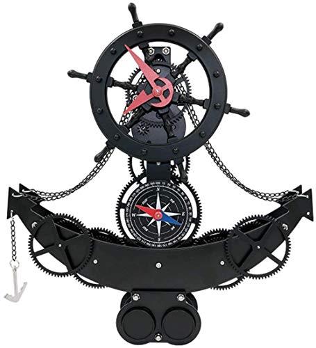 Kreative europäische Uhr / elektrische Zahnraduhr Piratenschiff Zahnraduhr / Retro Wohnzimmer Zahnraduhr Wanduhr (Farbe: A)-A