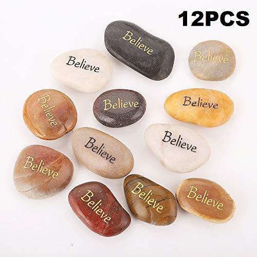 12 Stück BELIEVE RockImpact Steine mit Spruch Glück Gravierte Steine Gravur Inspirierende Steine Glücksbringer Ermutigung Dankbarkeit Geschenk Glückssteine (Großhandel, je 5-8 cm)