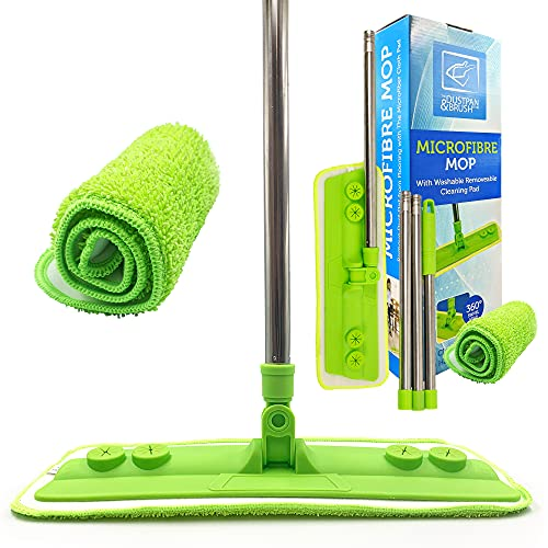 Microfibre Mop with Washable Removable Cleaning Pad for Cleaner Laminate Floor Wood Tile and Hardwood - Quickly & Simply Remove Dust Dirt from Flooring with the Microfiber Cloth Pad Mop