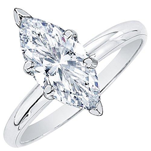 Anillo de compromiso con diamante de corte marquesa de 1/2 quilate E – SI2 en oro de 14 quilates