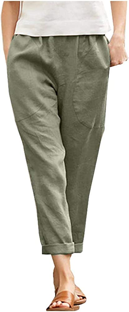 Ladyful Women's Casual Straight Leg Cotton Linen Beach Pant Trouser with Pockets