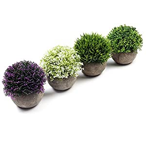 U'Artlines Artificial Plastic Mini Plants Topiary Shrubs Fake Plants with Gray Pot for Bathroom,House Decorations (4pcs Colorful Pattern 1)