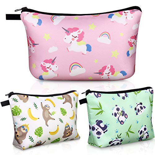 Cosmetic Bag for Girls, 3 Pack Cute Makeup Bags for Women Travel Toiletry Bag, Makeup Pouches Coin Purse Pencil Holder Pocket Organizer Case (Gifts in Sloth, Unicorn, Panda Print)