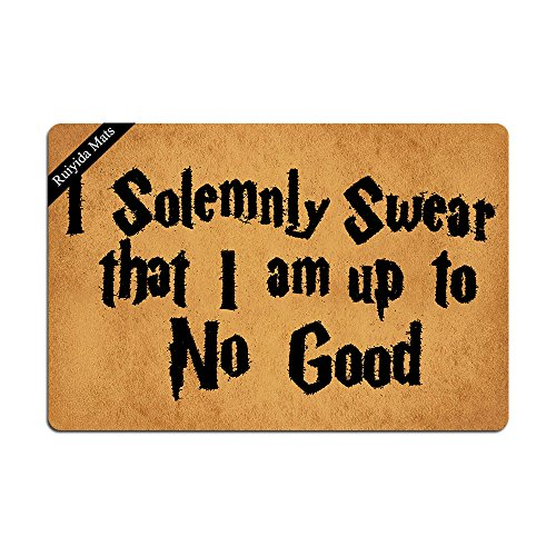 Ruiyida I Solemnly Swear That I Am Up to No Good Entrance Floor Mat Funny Door Mat Decorative Indoor Doormat Non-Woven 23.6 by 15.7 Inch Machine Washable Fabric Top