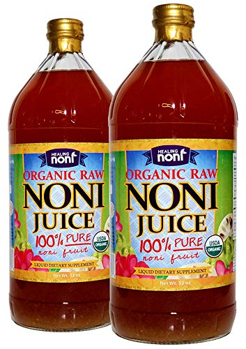Healing Noni Juice - RAW (Unpasteurized) 100% Pure Organic Hawaiian Noni Juice - 2 Pack of 32oz Glass Bottles