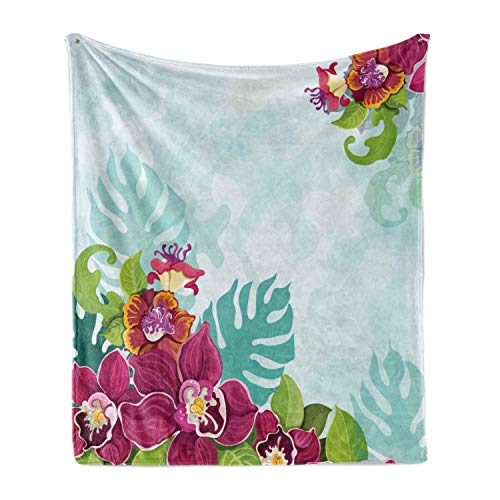 Lunarable Floral Soft Flannel Fleece Throw Blanket, Colorful Tropical Flourishing Flower Garland Pattern Framework Spring Art, Cozy Plush for Indoor and Outdoor Use, 70' x 90', Turquoise Pink Green