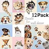 Pegatinas de Pared 3D para Pared de Perros y Gatos, para Habitaciones Infantiles, Divertidas Animales, 12 Unidades