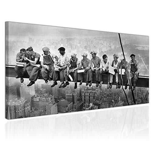 Topquadro XXL Wandbild, Leinwandbild 100x50cm, Mittagessen auf dem Wolkenkratzer, New York Workers Schwarzweiß, Retro Vintage - Panoramabild Keilrahmenbild, Bild auf Leinwand - Einteilig