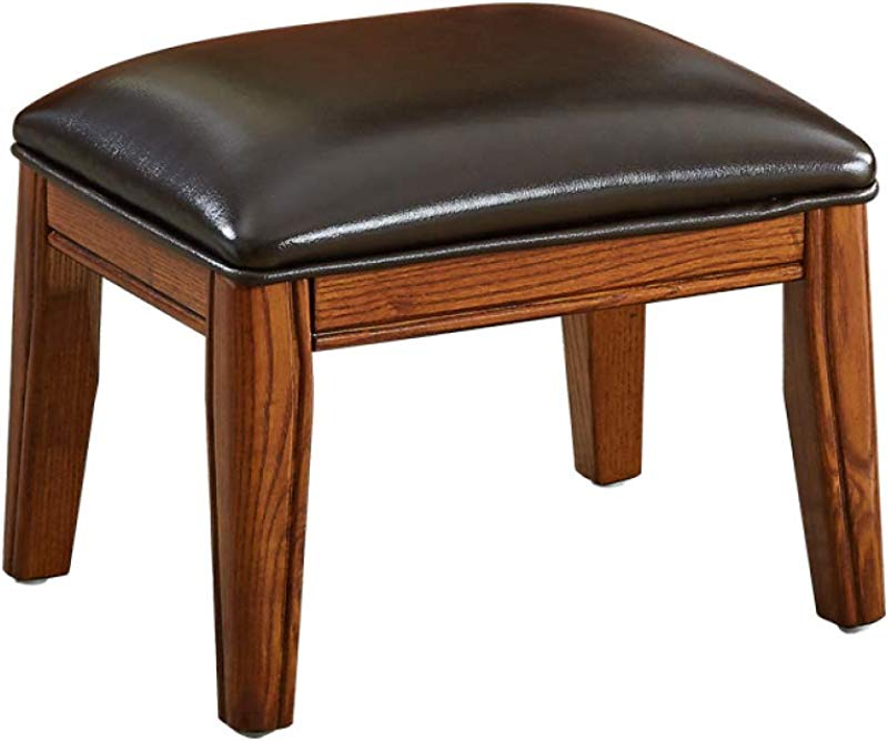 Zenggp Footstool Dollar Bench Shoe Bench With Real Wood Legs American Style Living Room Home With Short Stump Oak Frame Faux Leather Upholstered 100kg Load 383140cm
