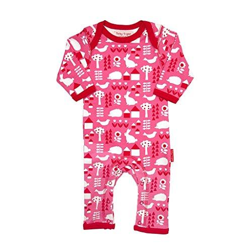 Toby Tiger 100% Organic Cotton Printed Garden Sleepsuit, Combinaison Bébé Fille, Rose, 3-6 Mois