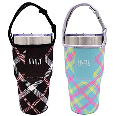 Tumbler Carrier Holder Pouch For All 30oz Stainless Steel Travel Insulated Coffee Mug, IHUIXINHE 2 Pack Neoprene Black Sleeve Accessories with Carrying Handle, Light Hand Free Bag (Black&Blue Plaid)