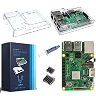 V-Kits Raspberry Pi 3 Model B+ (B Plus) with Clear Transparent Case and Set of 2 Heatsinks [2018 Model]