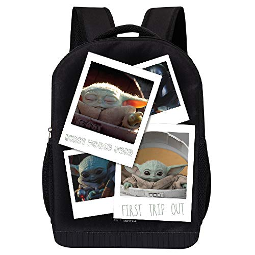 STAR WARS BLACK MANDALORIAN BACKPACK - STAR WARS 18 INCH AIR MESH PADDED BAG (The Child Photos)