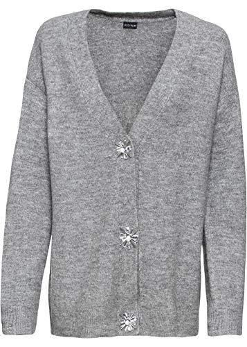 bonprix Oversized Strickjacke mit verzierten Knöpfen grau meliert 52/54 für Damen