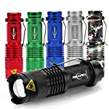 6 Pack Mini Flashlights LED Flashlight Torch 300lm Adjustable Focus Zoomable Light