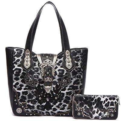 Leopard Rhinestone Belt Buckle Western Style Concealed Carry Purse Handbag Women Shoulder Bag Wallet Set