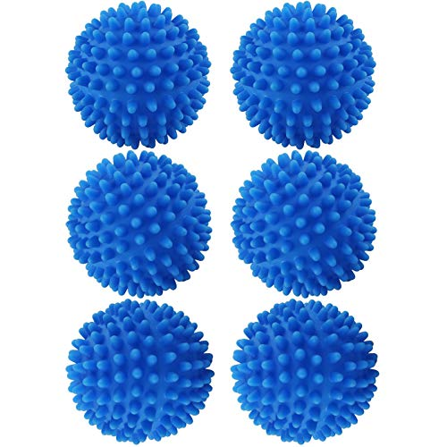 chudian 6 pcs Bolas de Secadora de Lavadora Reutilizables, Pelotas Secadora Bolas - la Ropa no se Arrugue, Ahorra Energía, Fácil de Usar, Una Ropa Más Suave (de Color Azul, Caucho)