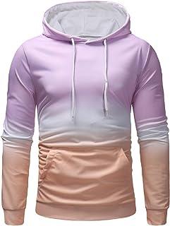 Mogogo Men's Hooded Gradient Ramp Long-Sleeve Pockets Slim-Fit Sweatshirt