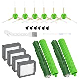 Cabiclean 14 Pack Replacement Parts for iRobot Roomba i7 i7+/i7 Plus E5 E6 Series Vacuum Cleaner Set - Includes 2 Set Multi-Surface Rubber Brushes,4 Pack HEPA Filters,6 Pack Edge Brushes,2 Tools