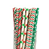 JOYIN 200 Pcs Colorful Disposable Drinking Paper Straws for Christmas Party Supplies, Desserts, and Holiday Party Decorations