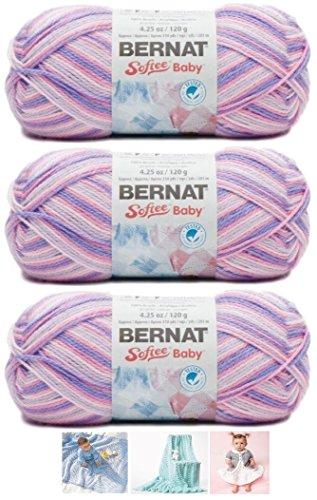 Bernat Softee Baby Acrylic Yarn 3 Pack Bundle Includes 3 Patterns DK Light Worsted #3 Variegated (Spring Flowers)