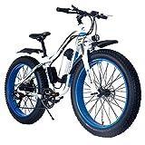 MRMRMNR 36V 250W Montaña E-Bike Beach Cruiser Hombres Mujeres 26 Pulgadas Neumático Gordo Bicicleta Eléctrica, Resistencia 35~40 Km, con Función De Carga De Teléfono Móvil USB