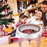 4YANG 48 Agujas Máquina de Tejer,Máquina de Tejer Circular Máquina de Tejer Doble, con 4 Ovillos de Lana y 8 Pompones, Regalo de invierno para adultos y niños,Rosado