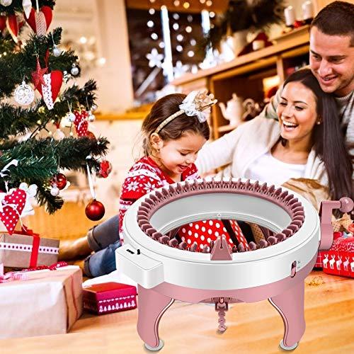 4YANG 48 Aiguilles Machine à Tricoter, Intelligent Machine à Tricoter Circulaire avec 4 Pelotes de Laine et 8 Pompon,Chandail/Gants/Chapeau,Cadeau Chaleureux de Tricot
