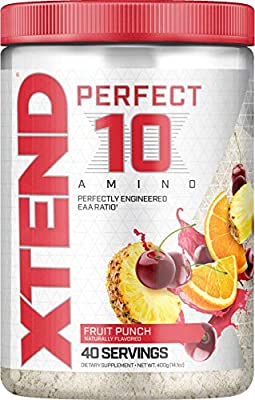 XTEND Perfect 10 Amino EAA Powder Fruit Punch | 5g Essential Amino Acids + Branched Chain Amino Acids + Electrolytes to Fuel Hydration & Recovery | 40 Servings
