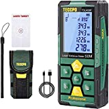 Telémetro láser 50m, USB 30mins Carga rápida, TECCPO Medidor Láser, Electrónico Ángulo Sensores, 99 Datos, 2.25'' LCD Retroiluminación, Medición de distancia, Área, Volumen, Trípode, IP54, TDLM26P