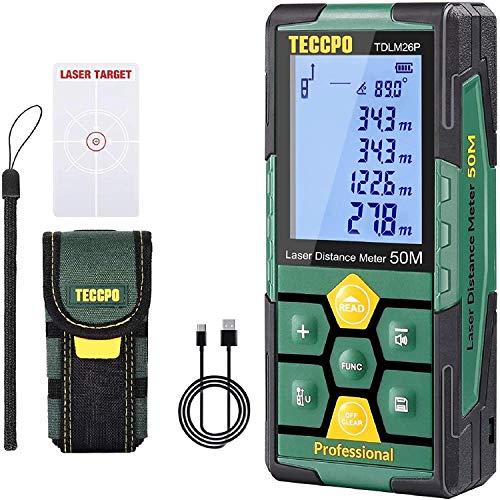 Telémetro láser 50m, USB 30mins Carga rápida, TECCPO Medidor Láser, Electrónico �ngulo Sensores, 99 Datos, 2.25'' LCD Retroiluminación, Medición de distancia, �rea, Volumen, Trípode, IP54, TDLM26P