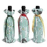 Caballos corriendo en el bosque, 3 bolsas para botellas de vino con cordones para cena, cata de vino, decoración de mesa