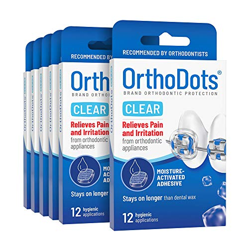 OrthoDots CLEAR (24 Count) - Moisture Activated, Silicone Dental Wax Alternative for Pain Caused by Braces. OrthoDots Stick Better & Stay on Longer than Orthodontic Wax (24 Count Clear)