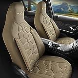 Fundas de asiento de coche para piloto delantero, conductor y copiloto, compatibles con Peugeot 208 en beige, Pilot 2.3, con fundas protectoras, airbag y accesorios para el interior del coche