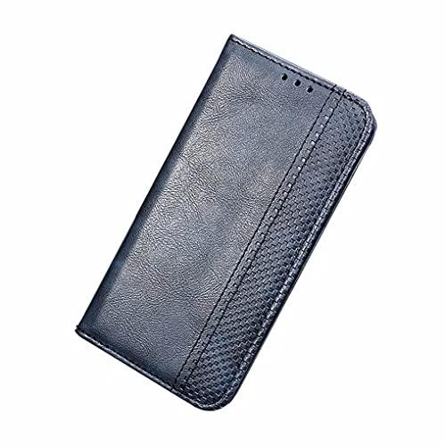LINER Leder Folio Hülle für Vivo Y72 5G / Vivo Y52 5G, Premium PU Lederhülle Flip Handyhülle Brieftasche Klapphülle Stoßfest Schutzhülle Hülle Cover mit Ständer Funktion & Kartenfächer - Blau