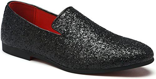 Men's Slip On Loafer Shoes Metallic Sequins Nightclub Shoes Textured Glitter Loafers Luxury Wedding Shoes (9.5, Black)