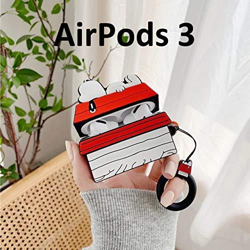 MJS AirPods Lindo Auricular del Caso for el AirPods Favorable Caso Snoopy Dibujos Animados azotea Cubierta for Apple Pro 3 Bolsos Protege el Caso con Carabina Hook (Color : Apple AirPods 3)