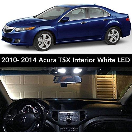 2009-2014 Acura TSX Interior White LED Kit + License Plate (Complete 15PC Light Bulb Set) (3 Dome/Map, 4 Vanity, 4 Door/Courtesy, 2 Trunk, 2 License Tag) Sedan & Wagon -2010, 2011, 2012, 2013
