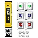 Medidores de pH, Medidor de Prueba de Calidad del Agua Digital con Pantalla LCD Retroiluminada, Medición de pH de 0-14 PH Medidor de Digital Portátil de Alta Precisión, Calibración Automática