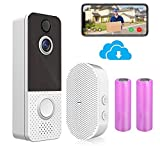 Wireless Video Doorbell Camera, 1080p Smart Video Doorbell with Chime, Motion Detection, 2-Way Audio, Night Vision, IP65 Weatherproof, 2.4G Wi-Fi Electric DoorBells with Battery.(Free Cloud Storage)