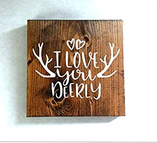 MarthaFox I Love You Deerly Wood Sign, Deer Sign, Rustic Sign,, Wedding Gift, Valentines Day